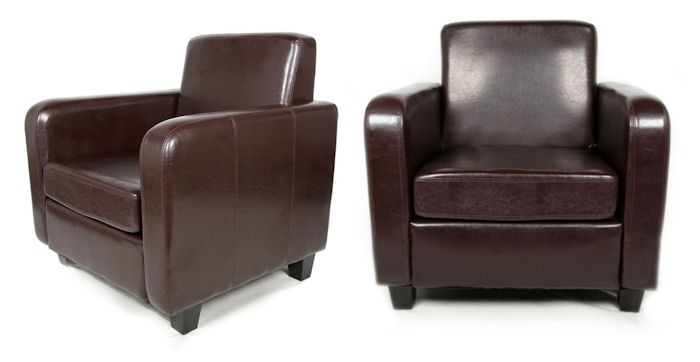 Havana Bonded Leather Tub Chair Armchair For Dining Living Room Office Recept