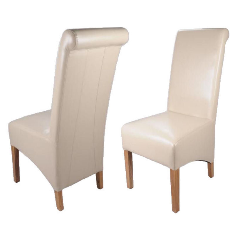 Leather Dining Room Chairs Scroll Back Oak Legs Furniture