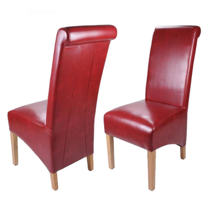 Leather dining room chairs scroll back oak legs furniture for Red dining room chairs